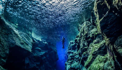 Diving in the Silfra fissure, Iceland