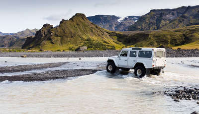 Jeep safari on the beach, Thorsmork, Iceland