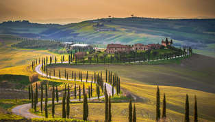 Italy, hills, houses and vineyards