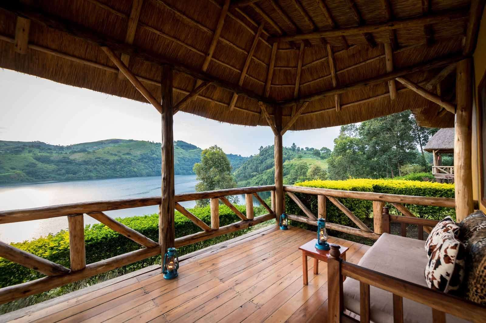 Crater Safari Lodge, Uganda, terrace lake view