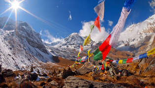 Mountains and prayer flags, Tibet