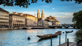 evening view of the schipfe on limmatquai with grossmuenster, zurich swiss_image_sts8589_314_179